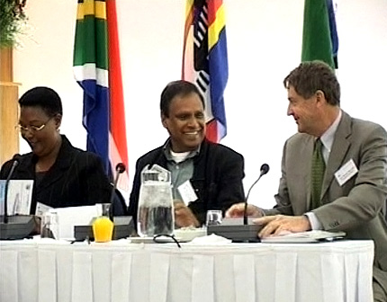 Thokozani Khupe, then MDC vice president, Ebrahim Ebrahim, then head of the ANC International Affairs Committee and H. E. Xavier Marchal, European Commission ambassador to Harare; addressing a SALO workshop